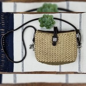 Brighton Woven Straw Crossbody Charms Bag Purse